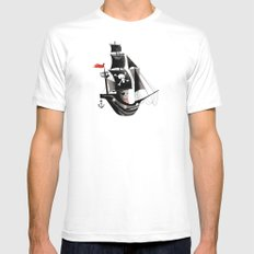 Pirate Ship MEDIUM White Mens Fitted Tee