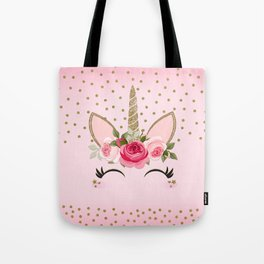 Pink & Gold Cute Floral Unicorn Tote Bag