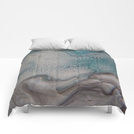 Silver Blues 2 - Abstract Art by Fluid Nature Comforters