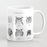 house Mugs featuring Caffeinated Owls by Dave Mottram