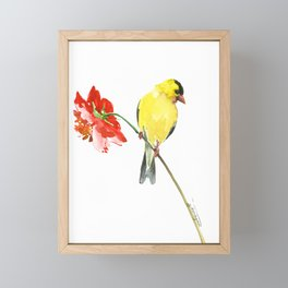 American Goldfinch and Red Flower, Minimalist Yellow Red Floral art Framed Mini Art Print