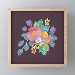 Gouache Florals on Maroon Framed Mini Art Print
