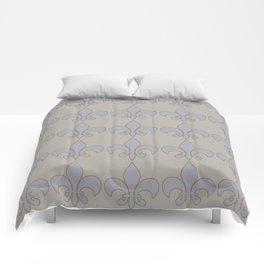 Fleur de lis....blue /orange color harmony neutral Comforters