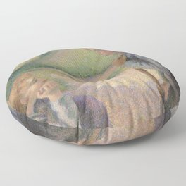 Two Young Peasant Women Floor Pillow