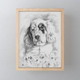English Setter puppy Black and white portrait Framed Mini Art Print