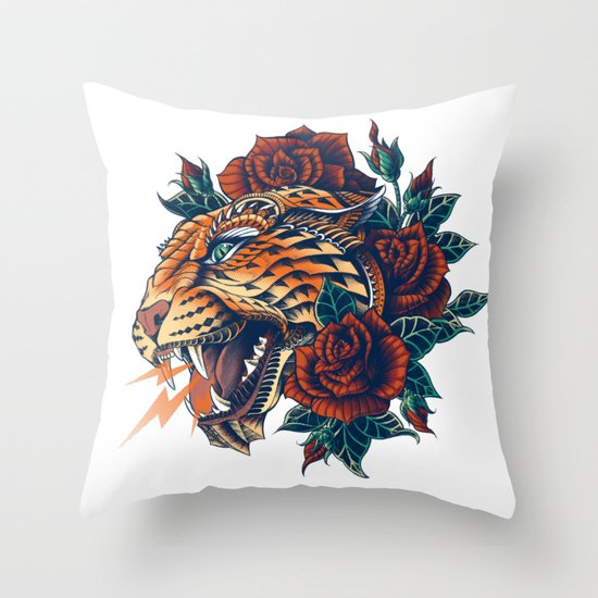 Ornate Leopard (Color Version) Throw Pillow