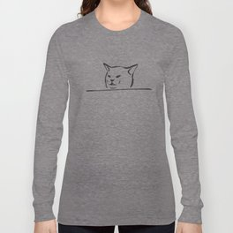 Confused cat meme drawing Long Sleeve T-shirt
