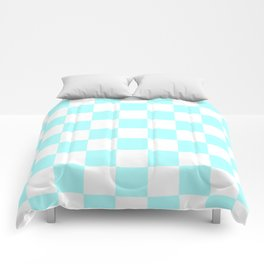 Checkered - White and Celeste Cyan Comforters