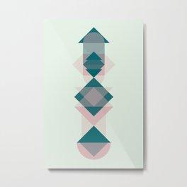 Nr. 1 Geometric Totem Pole Blush Pink and Green Metal Print