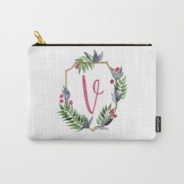 Jungle Gold Monogram Crest V Carry-All Pouch
