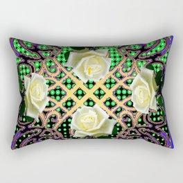 BLUE-GREEN WHITE ROSE GARDEN  TAPESTRY ART Rectangular Pillow