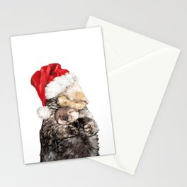Christmas Otter Mother and Child Stationery Cards