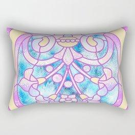 Art Nouveau Blue Pink and Yellow Batik Design Rectangular Pillow