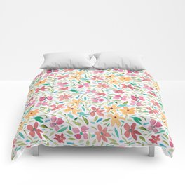Clementine and Coral Watercolor Floral Light Comforters