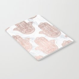Modern rose gold floral lace hamsa hands white marble illustration pattern Notebook