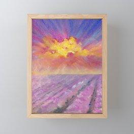 Sunrise over a lavender field - pastel landscape Framed Mini Art Print