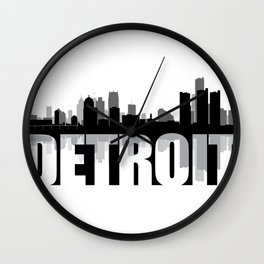 Detroit Silhouette Skyline Wall Clock