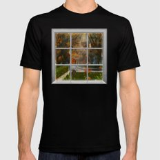 One Rainy Day In The Fall - Painting MEDIUM Black Mens Fitted Tee