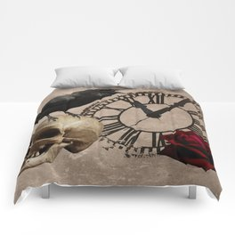 Gothic Black Crow Old Skull Red Rose Time Cross Art A553 Comforters