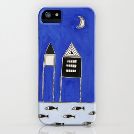 Tiny houses and fish in blue iPhone Case