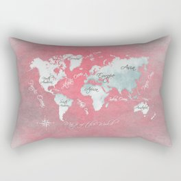 world map 143 red white #worldmap #map Rectangular Pillow