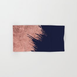 Navy blue abstract faux rose gold brushstrokes Hand & Bath Towel