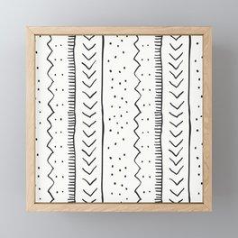 Moroccan Stripe in Cream and Black Framed Mini Art Print
