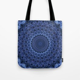 Dark and light blue tones mandala Tote Bag
