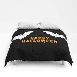 Happy Halloween flying bats Comforters