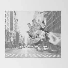 Black and White Selfie Giraffe in NYC Throw Blanket