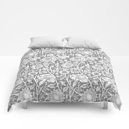 "William Morris Floral Pattern | ""Pink and Rose"" in Grey and White Comforters"