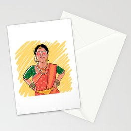 Indian bride illustration // pink sari drawing Stationery Cards
