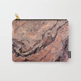 Rose Gold, Black, Grey, and White Paint Pour Waves Carry-All Pouch