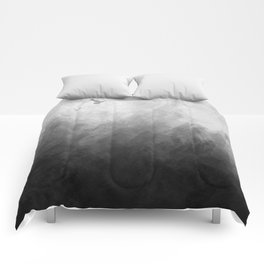 Full Moon Solstice: Abstract Black and White Comforters