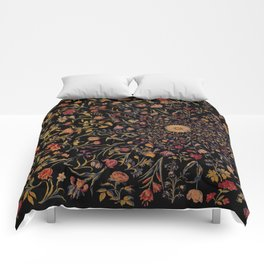 Medieval Flowers on Black Comforters