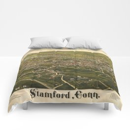 Vintage Pictorial Map of Stamford CT (1883) Comforters