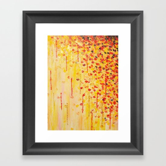 WHEN IT FALLS Bold Autumn Winter Leaves Abstract Acrylic Painting Christmas Red Orange Gold Gift Framed Art Print