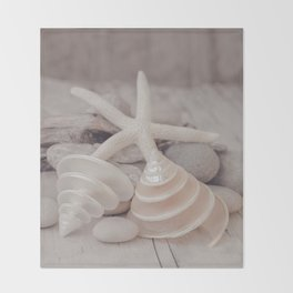 Beach Still Life With Shells And Starfish Throw Blanket