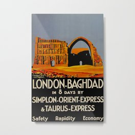London-Baghdad Orient Express Vintage Travel Poster Metal Print