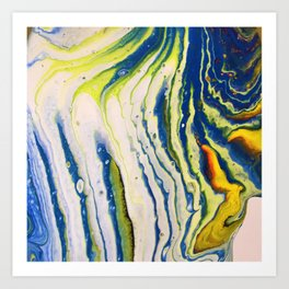 Feathery abstract acrylic art in blue yellow and white Art Print