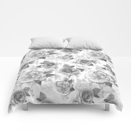 Hand painted black white watercolor roses floral pattern Comforters