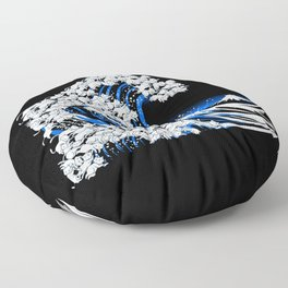 Kanagawa Cat Wave Black Floor Pillow