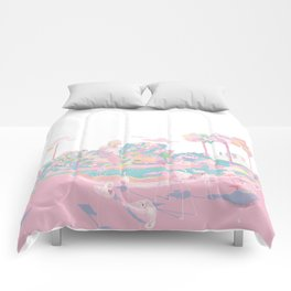 One broiling August day with Flamingos Comforters