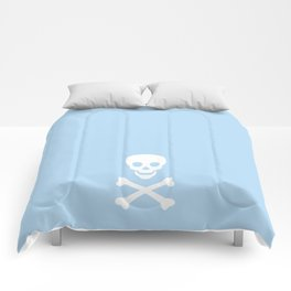 LIGHT BLUE & WHITE SKULL Comforters