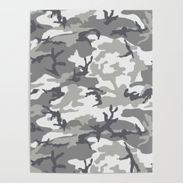 Urban Camo Camouflage Pattern Uniform Military Greyscale Poster