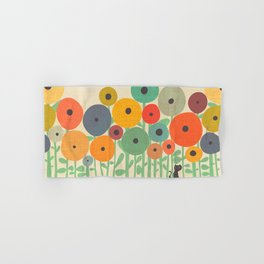 Cat in flower garden Hand & Bath Towel