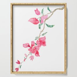 red  pink  bougainvillea watercolor Serving Tray