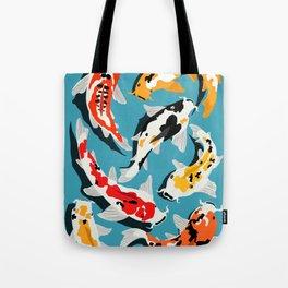 Colorful Koi Carps Swimming Around Tote Bag