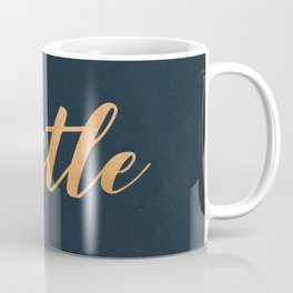 Hustle Text Copper Bronze Gold and Navy Coffee Mug