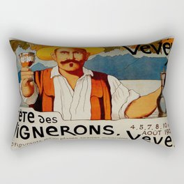 Vintage 1905 Vevey Winegrowers Festival Print Rectangular Pillow